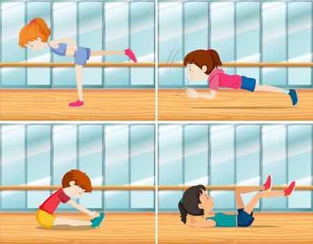 A set of young people exercise illustration