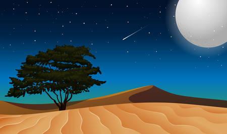 Moon over isolated desert illustration