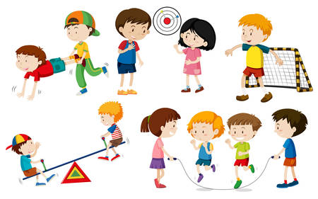 Set of children doing activites illustration Illustration