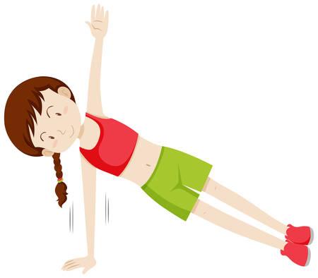 Mädchen, das eine seitliche Plankenillustration macht