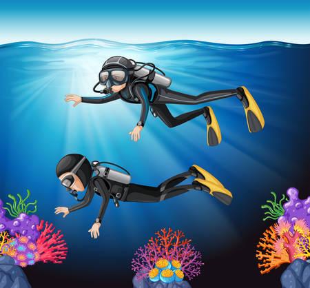 Buceo en la ilustración del océano