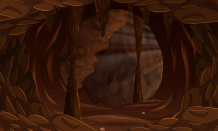 A dark cave landscape illustration