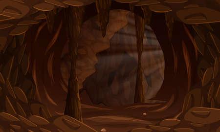 A dark cave landscape illustration