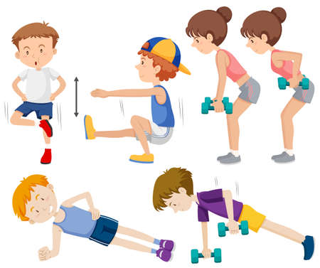 Set of people doing exercise illustration
