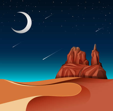A desert landscape at night illustration Ilustrace