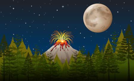 Éruption du volcan dans la nuit illustration