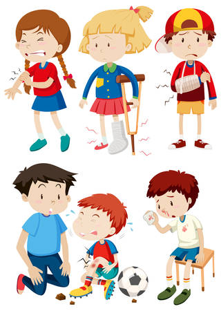 A set of children and accident illustration Illustration