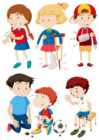 Eine Reihe von Kindern und Unfallillustration