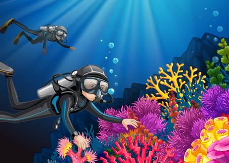 Duiken onder de diepe oceaan illustratie Vector Illustratie