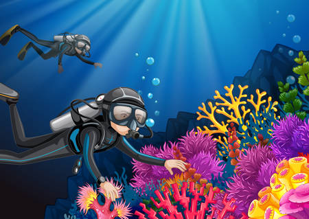 Scuba diving under the deep ocean illustration