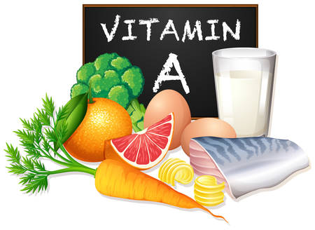A set of vitamin A food illustration Ilustracja