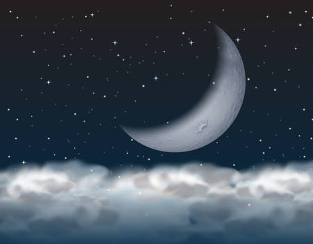 crescent moon above the cloud illustration Illustration