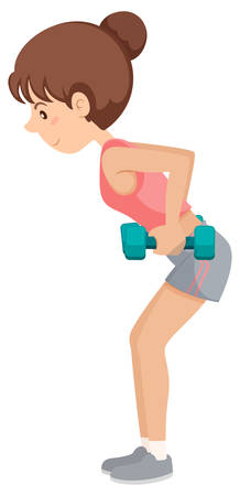 A girl lifting the dumbbell illustration Illustration