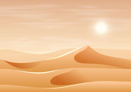 Beautiful sand dune landscape illustration