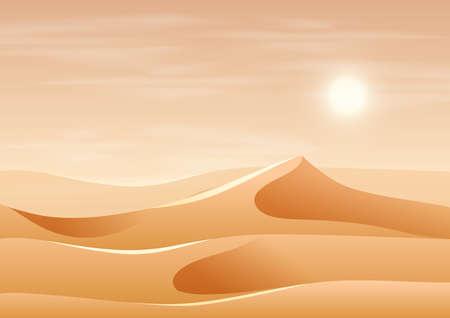 Beautiful sand dune landscape illustration