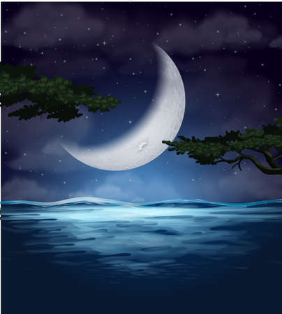 A crescent moon reflection on water illustration