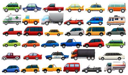 Un conjunto de ilustración de vehículos de carretera. Ilustración de vector