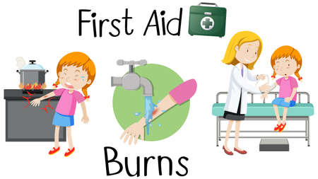 A girl with burn arm first aid illustration