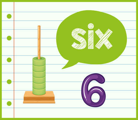 Math counting number six illustration