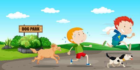Niño huir de la ilustración del perro
