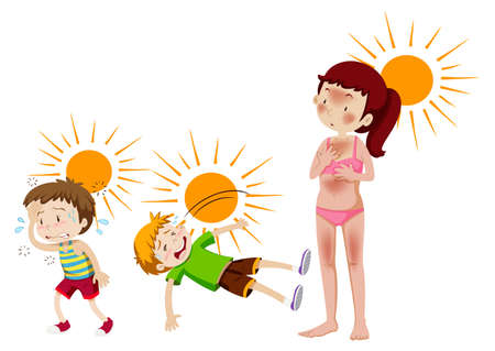 A set of sun and heat cuased illustration Vector Illustration