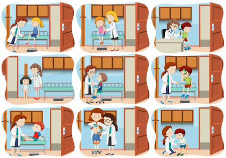 A set of children healthcare illustration