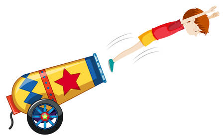 A colourful cannon on white background illustration Ilustração