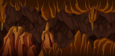 Ilustración de escena de paisaje de caverna subterránea