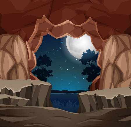 Entrance to cave night scene illustration