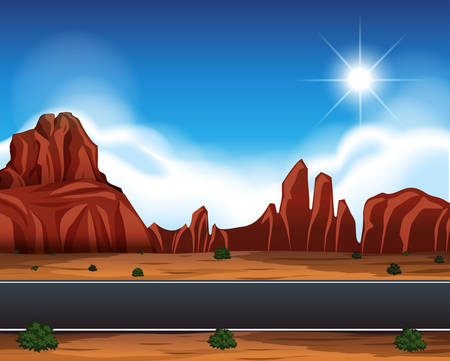 Desert road landscape scene illustration