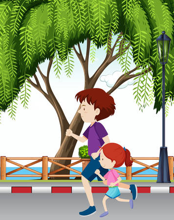 Dad and daughter running through park illustration Vector Illustratie