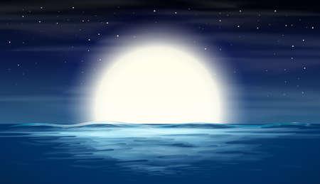 full moon over sea illustration
