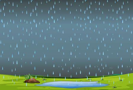 pluie tombante sur une illustration de paysage simple