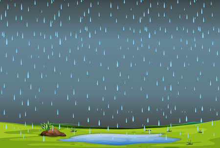 falling rain over simple landscape illustration Illustration