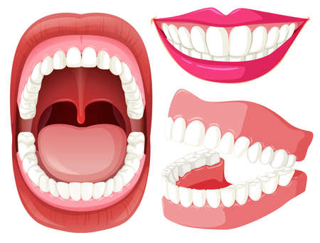 Set of mouth and teeth illustration Vetores