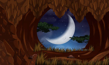 Cave at night with moon scene illustration
