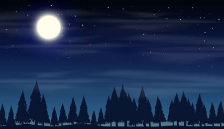 Night scene with silhouette woods illustration