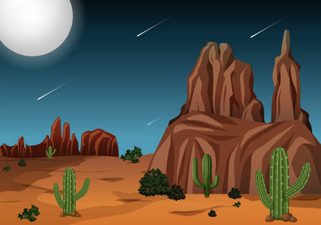 Desert at night time scene illustration