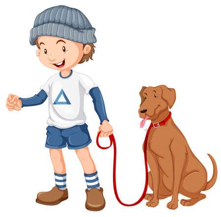 Boy with his dog illustration