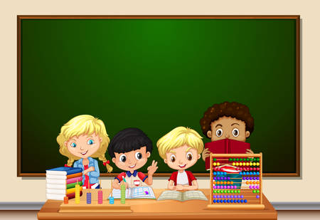 A group of student in classroom illustration