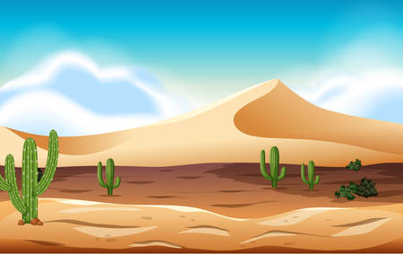 desert with dunes and cactus illustration
