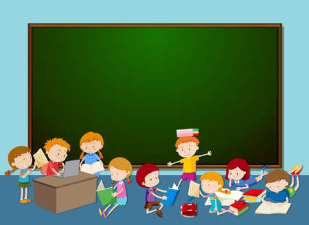 Children in front of chalkboard illustration