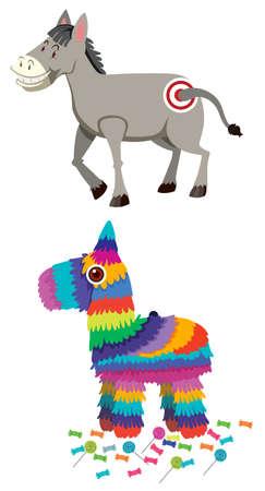 Donkey and pinata set illustration