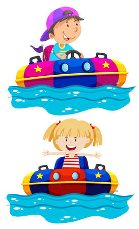 Children riding boat bumper illustration