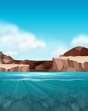 Beautful rock and water scene illustration