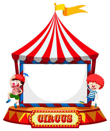 Circus tent with clowns frame  illustration
