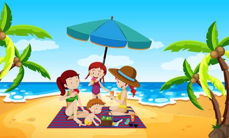 People under an umbrella beach scene illustration