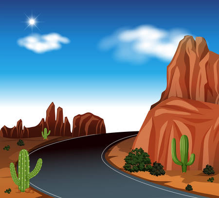 A road at desert illustration