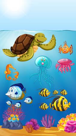 cute marine animals underwater illustration