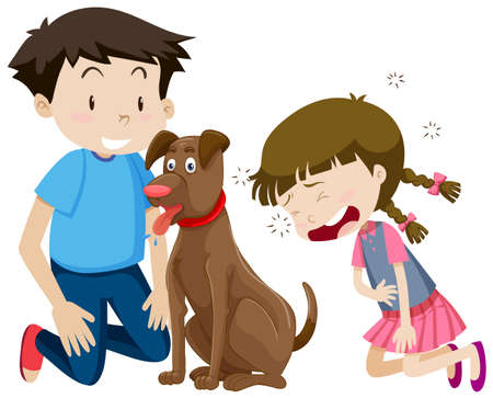 Boy and girl with dog illustration